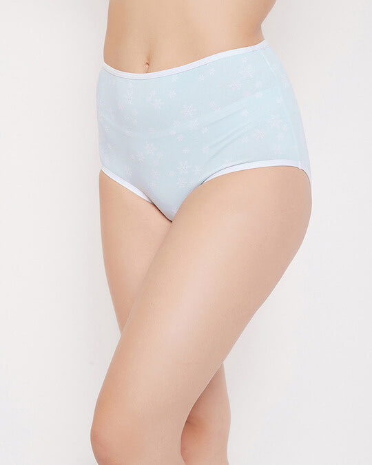 Shop High Waist Floral Print Hipster Panty In Powder Blue   Cotton-Back