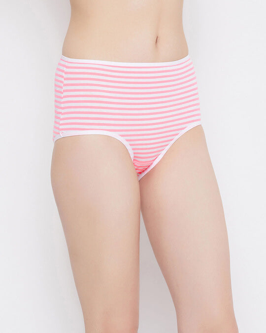 Shop High Waist Striped Hipster Panty In White  Cotton-Back
