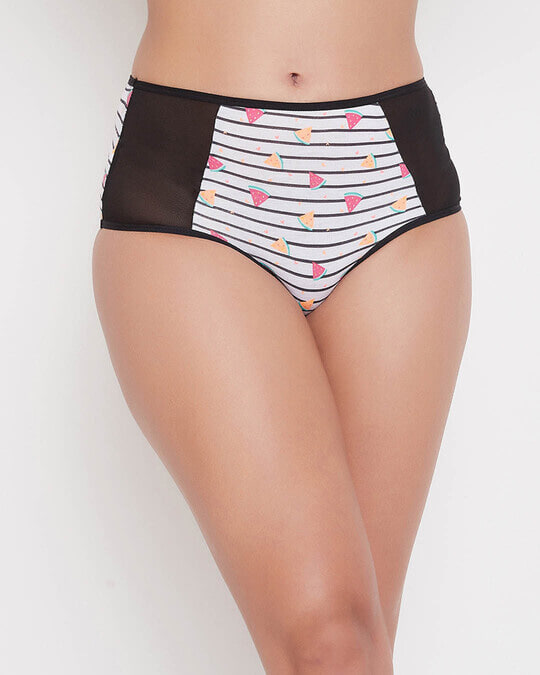 Shop High Waist Watermelon Print Hipster Panty With Mesh Panels In Grey   Cotton-Front