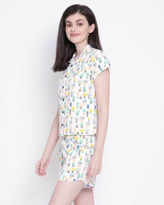 Shop Clovia Ice Cream Printed Shirt & Shorts Set-Back