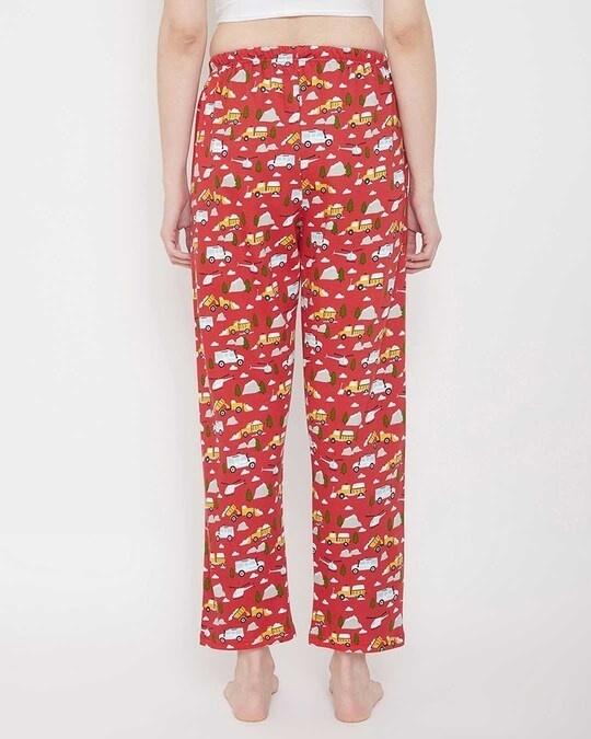Shop Lorry Print Pyjama In Red-Back