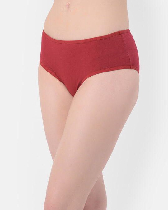 Shop Mid Waist Hipster Panty With Alligator & Heart Print Back In Maroon   Cotton-Back