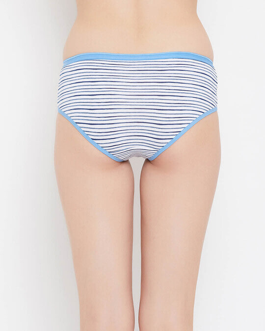 Shop Mid Waist Striped Hipster Panty In White   Cotton-Design
