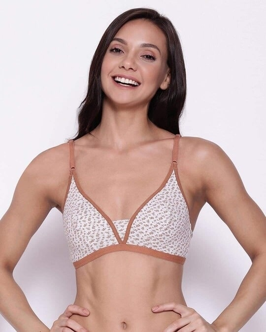 Shop Non Padded Non Wired Full Cup Floral Print Plunge Bra In Grey   Cotton-Front
