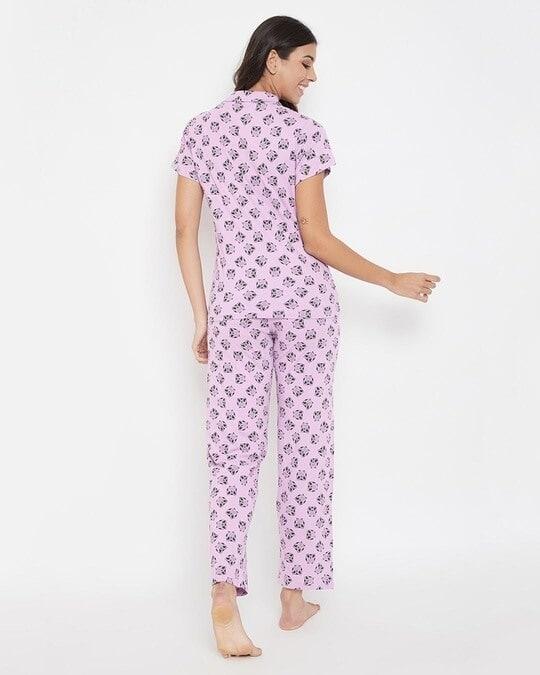 Shop Owl Print Button Me Up Shirt & Pyjama Set In Lilac-Back