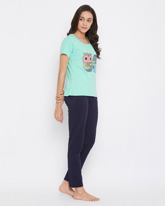 Shop Owl Print Top & Pyjama In Sea Green & Navy   100% Cotton-Back