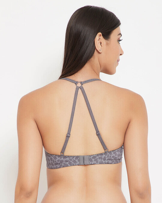 Shop Padded Non Wired Animal Print Full Cup Racerback T Shirt Bra In Grey-Design
