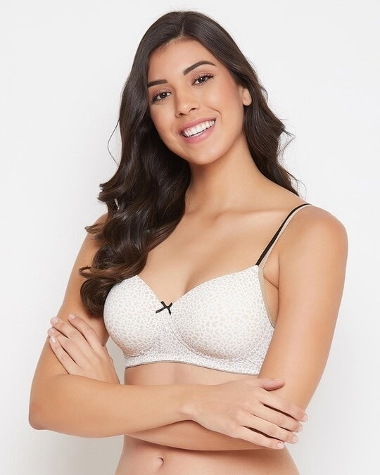 Shop Padded Non Wired Full Cup Animal Print T Shirt Bra In White-Back