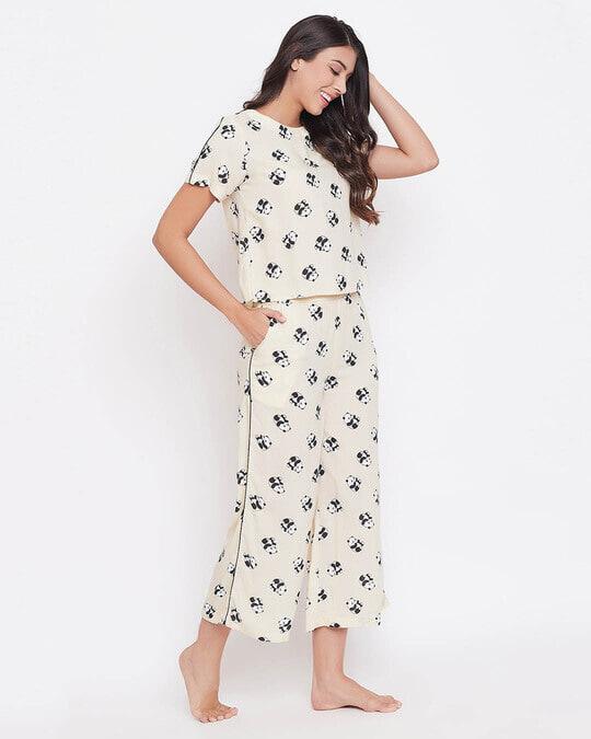 Shop Panda Print Cropped Top & Wide Leg Pyjama Set In Light Yellow   Rayon-Back