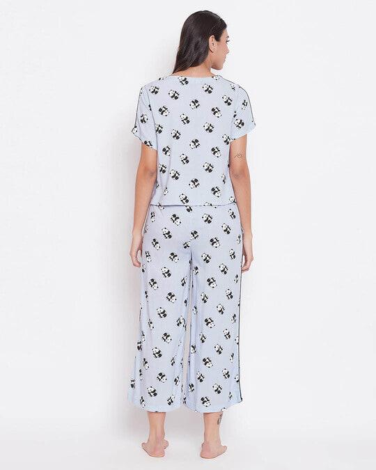 Shop Panda Print Cropped Top & Wide Leg Pyjama Set In Powder Blue   Rayon-Design