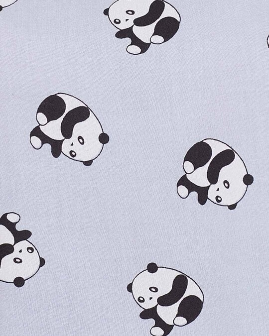 Shop Panda Print Cropped Top & Wide Leg Pyjama Set In Powder Blue   Rayon-Full