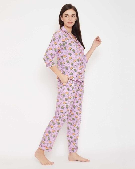 Shop Popcorn Print Button Me Up Shirt & Pyjama In Lilac   100% Cotton-Design