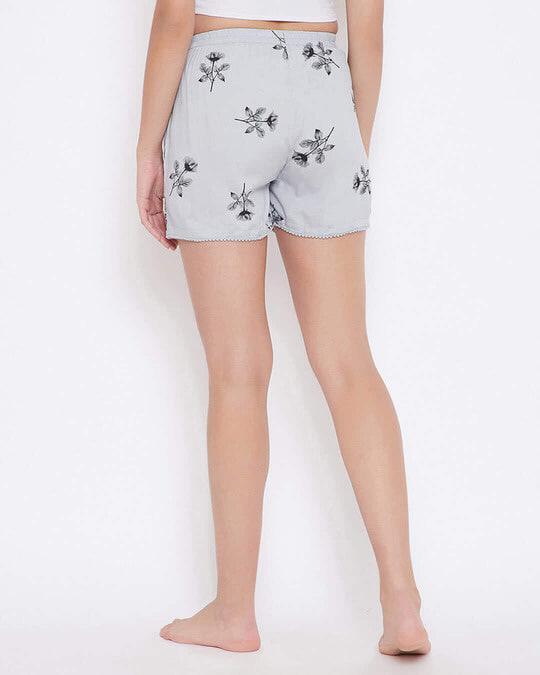 Shop Pretty Florals Boxer Shorts In Light Grey   100 Cotton-Back