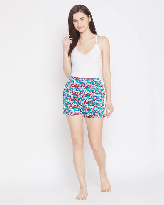Shop Clovia Pretty Florals Boxer Shorts in Multicolour- 100% Cotton-Full