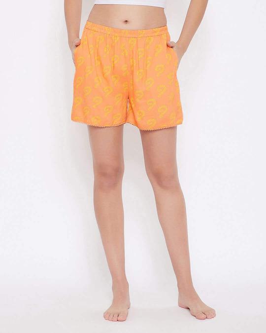 Shop Pretty Florals Boxer Shorts In Orange   100 Cotton-Front