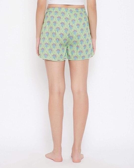 Shop Pretty Florals Boxer Shorts In Sage Green   100 Cotton-Back
