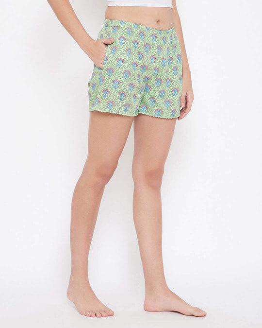 Shop Pretty Florals Boxer Shorts In Sage Green   100 Cotton-Design