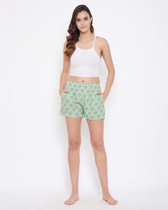 Shop Pretty Florals Boxer Shorts In Sage Green   100 Cotton