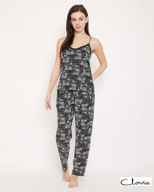 Shop Pretty Florals Cami Top & Pyjama In Black   Cotton Rich-Front