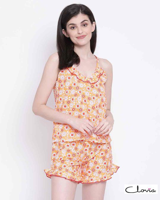 Shop Clovia Pretty Florals Cami Top & Shorts in Light Pink-Front