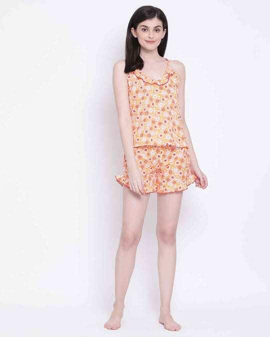 Shop Clovia Pretty Florals Cami Top & Shorts in Light Pink-Full
