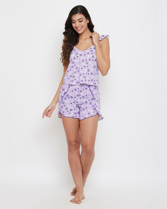 Shop Pretty Florals Cami Top & Shorts In Purple-Full
