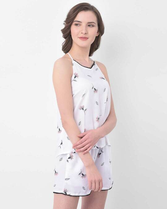 Shop Pretty Florals Cami Top & Shorts In White  Rayon-Back