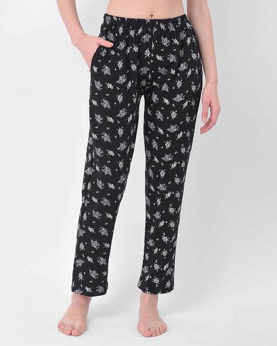 Shop Clovia Pretty Florals Pyjama in Black - Cotton Rich-Front