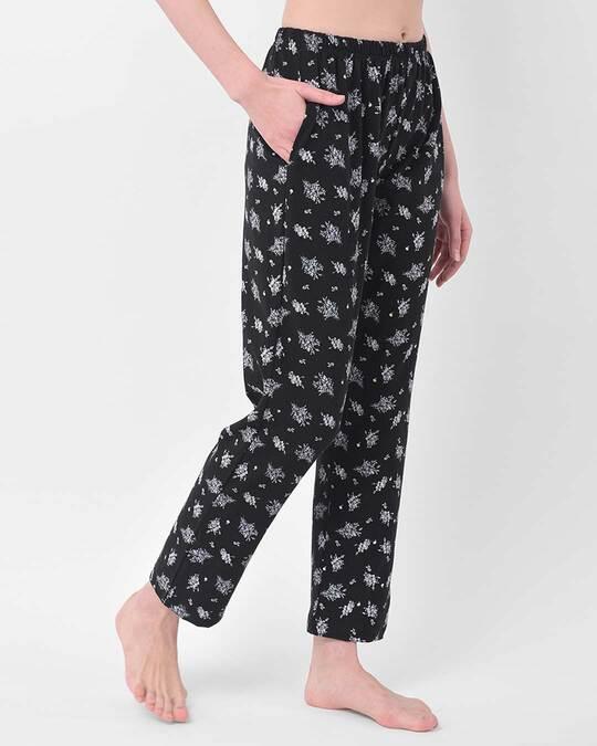 Shop Clovia Pretty Florals Pyjama in Black - Cotton Rich-Back