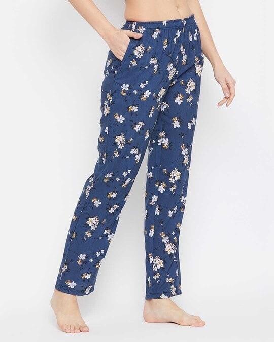 Shop Pretty Florals Pyjama In Navy   Rayon-Back