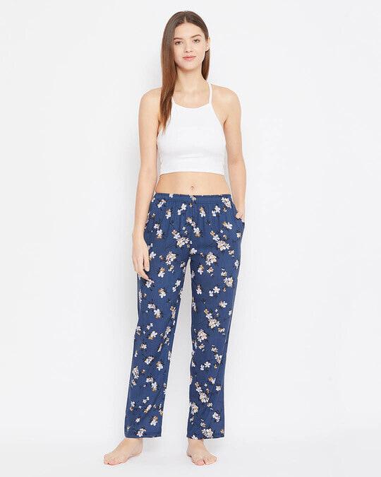 Shop Pretty Florals Pyjama In Navy   Rayon-Full
