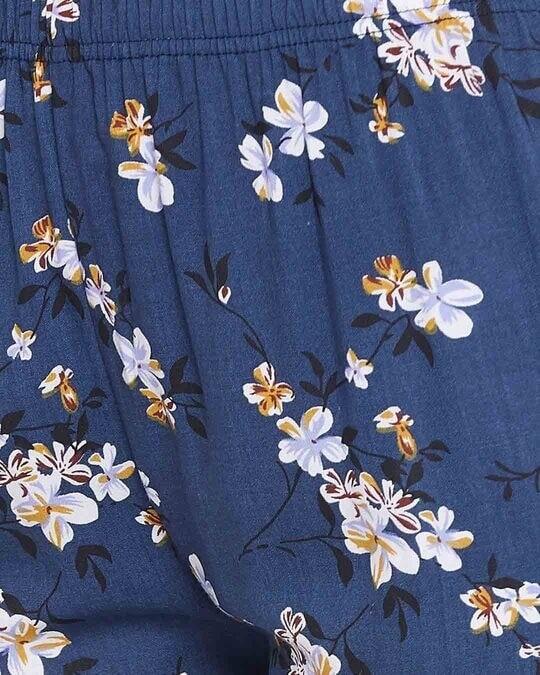 Shop Pretty Florals Pyjama In Navy   Rayon