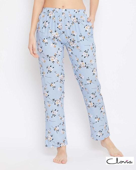 Shop Pretty Florals Pyjama In Powder Blue   Rayon-Front