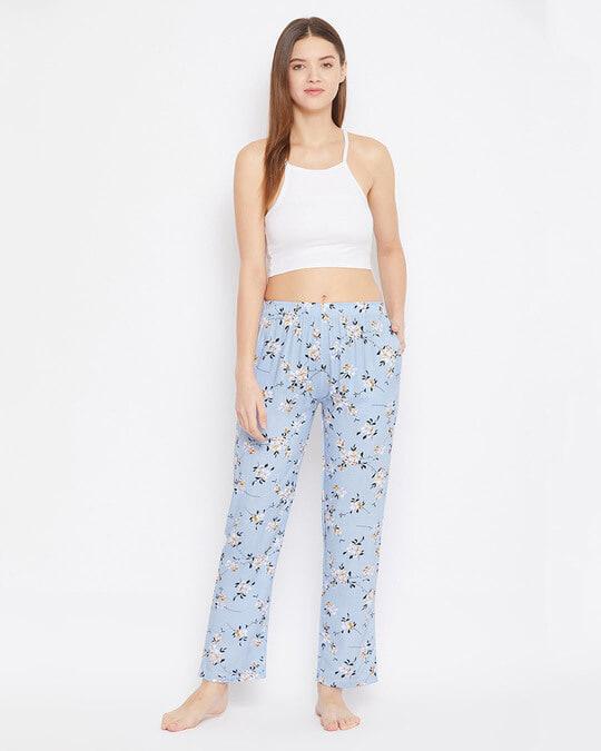 Shop Pretty Florals Pyjama In Powder Blue   Rayon-Full