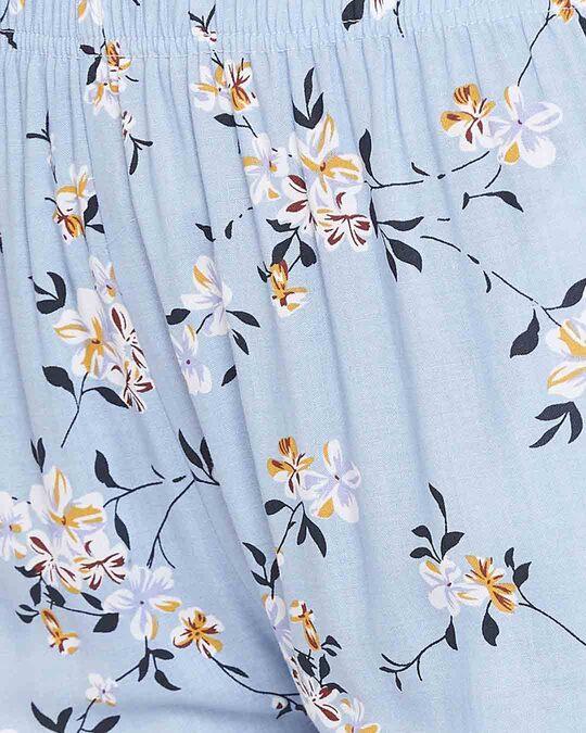 Shop Pretty Florals Pyjama In Powder Blue   Rayon