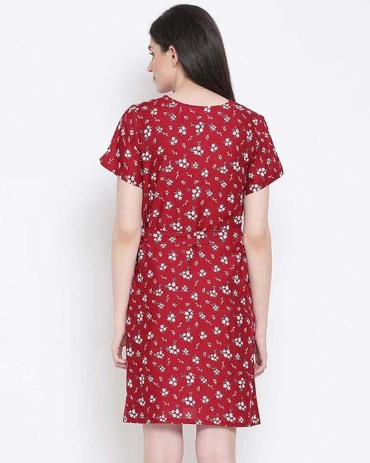Shop Clovia Pretty Florals Short Night Dress in Multicolour-Design