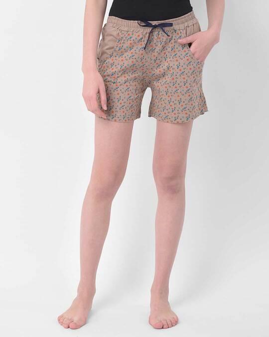 Shop Clovia Pretty Florals shorts in Nude-Colour - Cotton Rich-Front