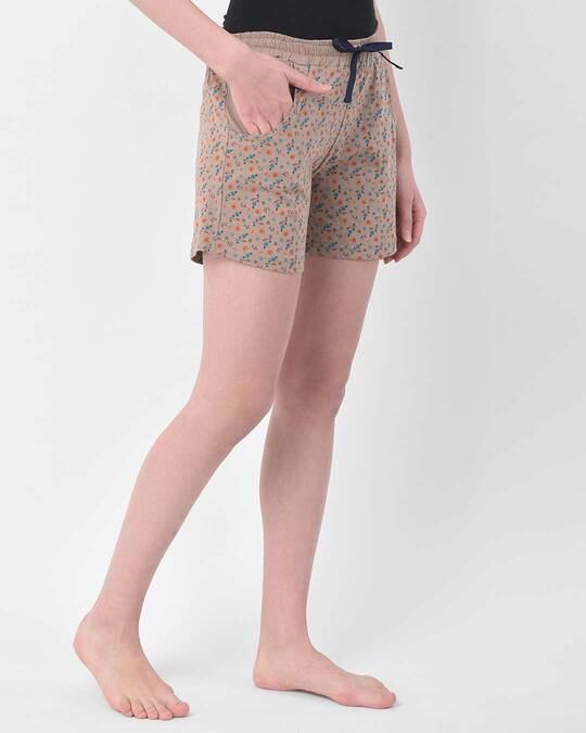 Shop Clovia Pretty Florals shorts in Nude-Colour - Cotton Rich-Back