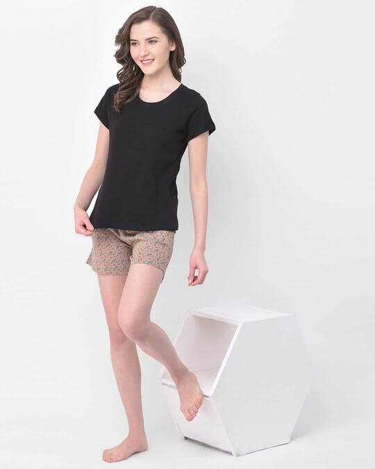 Shop Clovia Pretty Florals shorts in Nude-Colour - Cotton Rich-Full