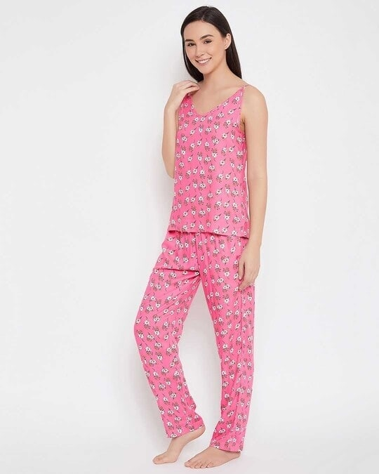 Shop Pretty Florals Top & Pyjama Set In Pink  Rayon-Back