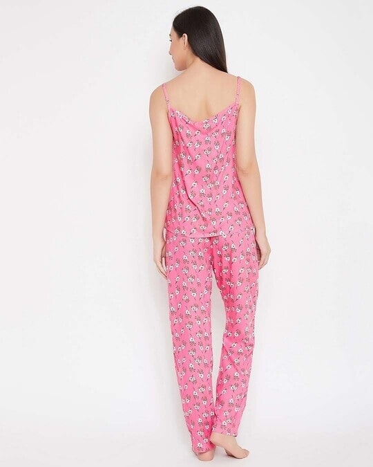 Shop Pretty Florals Top & Pyjama Set In Pink  Rayon-Full