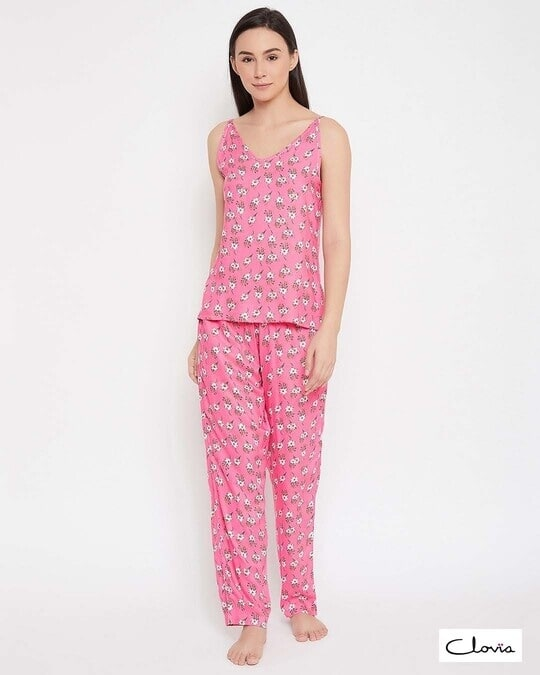 Shop Pretty Florals Top & Pyjama Set In Pink  Rayon-Front