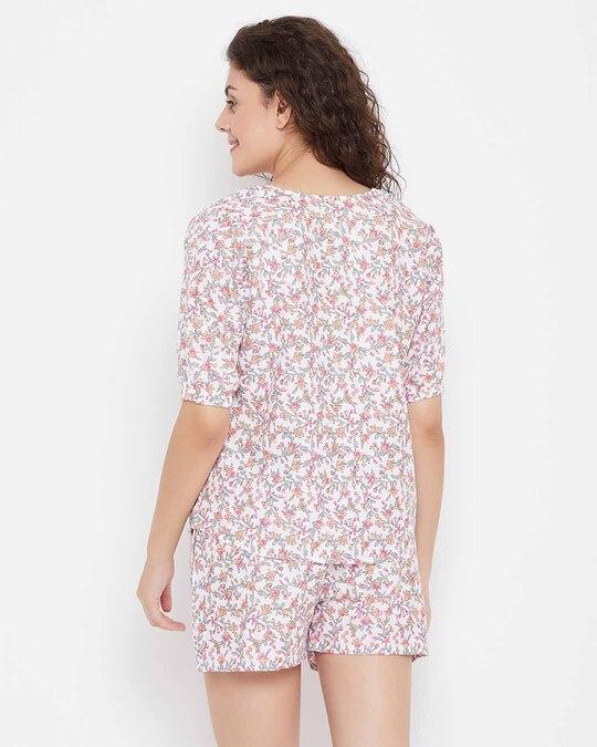 Shop Pretty Florals Top & Shorts In White-Design