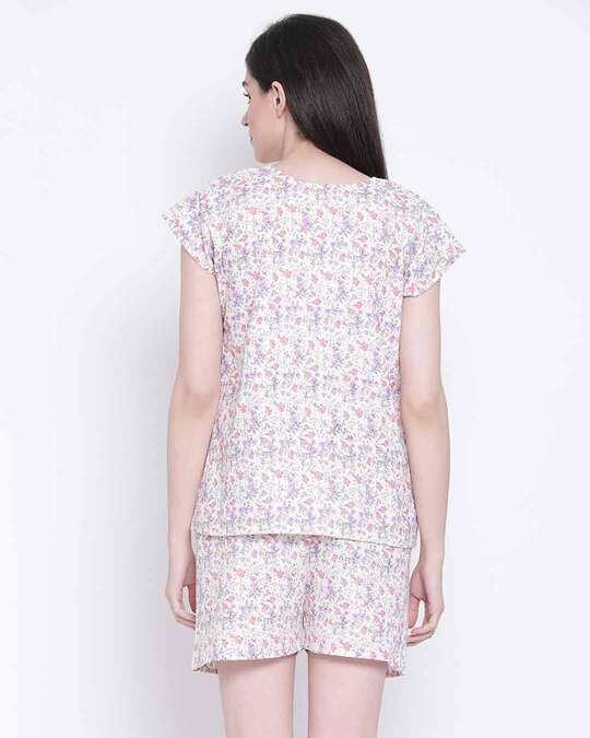 Shop Clovia Pretty Florals Top & Shorts Set in Lilac-Design