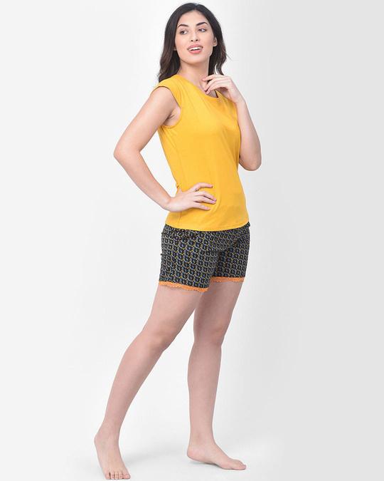 Shop Clovia Print Me Pretty Boxer Shorts in Black - Cotton Rich-Full