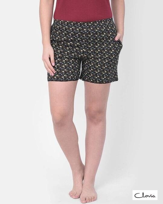 Shop Clovia Print Me Pretty Boxer Shorts in Black - Cotton Rich-Front