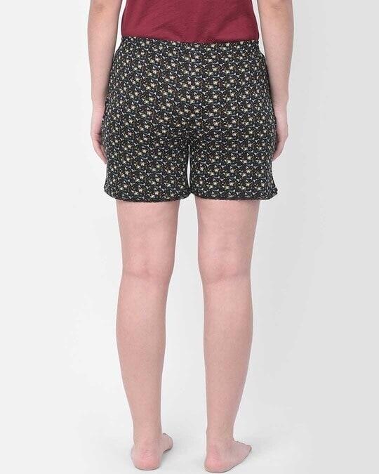 Shop Clovia Print Me Pretty Boxer Shorts in Black - Cotton Rich-Design