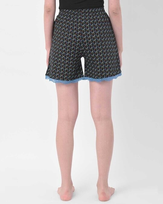 Shop Clovia Print Me Pretty Boxer Shorts in Black-Design
