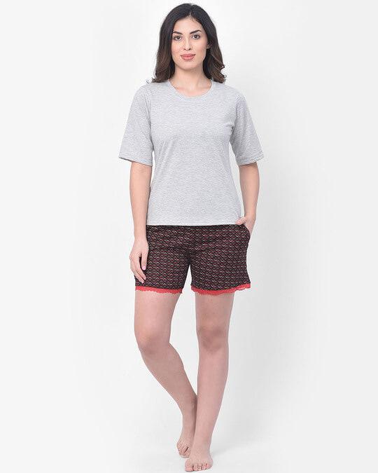 Shop Clovia Print Me Pretty Boxer Shorts in Brown - Cotton Rich-Full