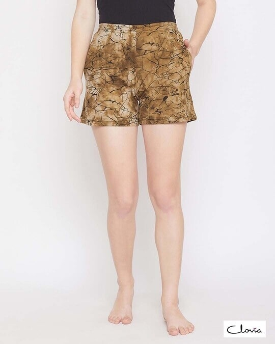 Shop Clovia Print Me Pretty Boxer Shorts in Brown- 100% Cotton-Front